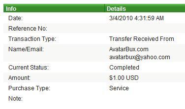 Третья выплата с AvatarBux.com