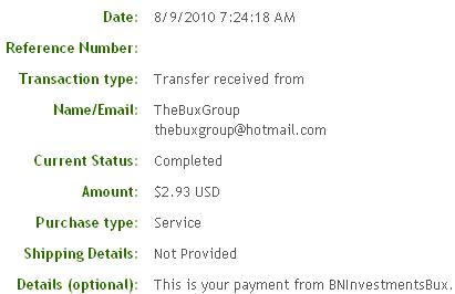 Первая выплата с BNInvestmentsBux.com