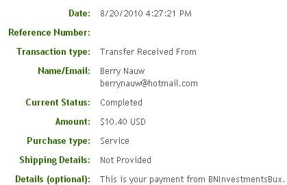 Вторая выплата с BNInvestmentsBux.com
