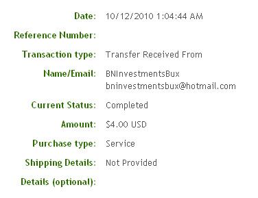 Четвертая выплата с BNInvestmentsBux.com