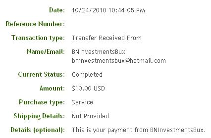 Шестая выплата с BNInvestmentsBux.com