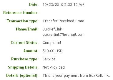 Десятая выплата с BuxRefLink.com