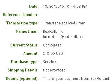 Одинадцатая выплата с BuxRefLink.com