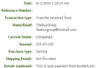 Вторая выплата с BuxRefLink.com