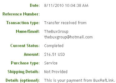 Третья выплата с BuxRefLink.com