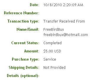 Вторая выплата с FreeBirdBux.com