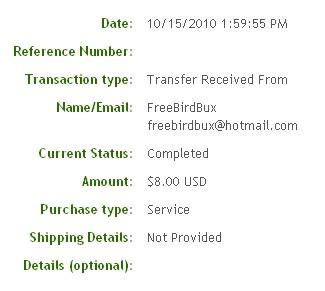 Третья выплата с FreeBirdBux.com