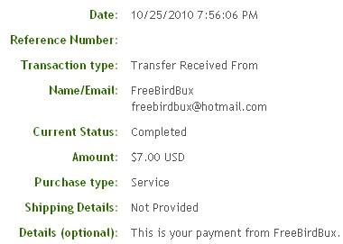 Четвертая выплата с FreeBirdBux.com