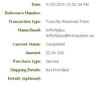 Вторая выплата с Infinitybux.com