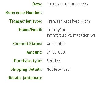Четвертая выплата с Infinitybux.com