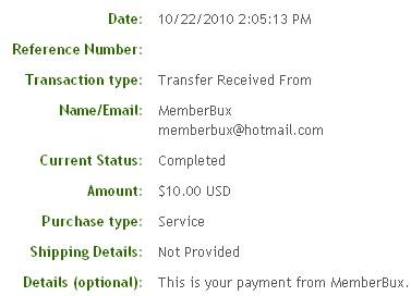 Седьмая выплата с MemberBux.com