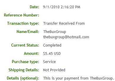 Третья выплата с TheBuxGroup.com