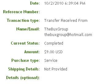 Шестая выплата с TheBuxGroup.com