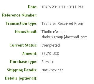 Седьмая выплата с TheBuxGroup.com