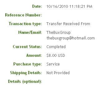 Восьмая выплата с TheBuxGroup.com