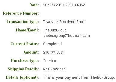 Девятая выплата с TheBuxGroup.com